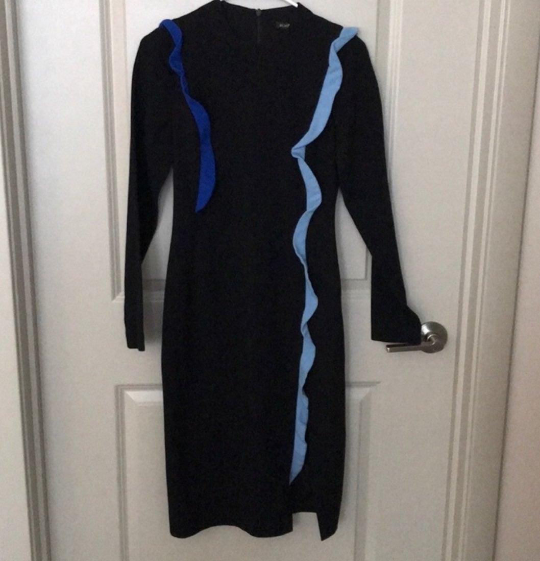 Halo Black Ruffle Sheath Dress Size 2