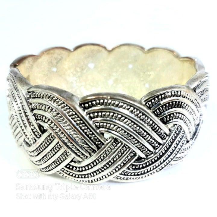 Silver tone Braided Cuff Clamp Bracelet