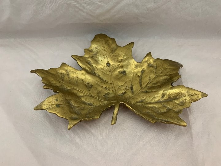 "Brass Leaf Shaped Trinket Dish - 8.25"""
