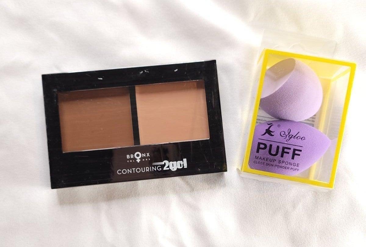 Cream Contour &Highlight Palette &Sponge