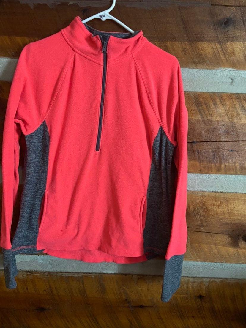 Pink/gray half zip fleece pullover