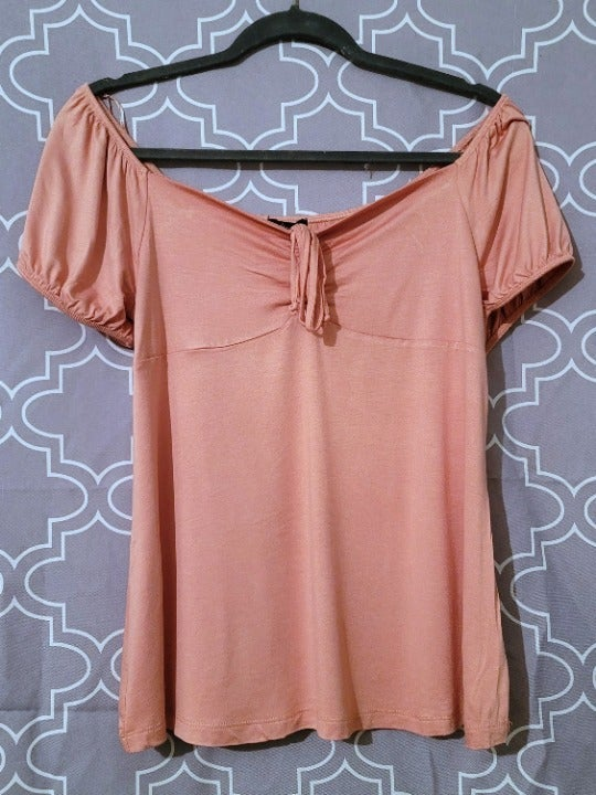 Cinched Neckline Casual Short Sleeve Top