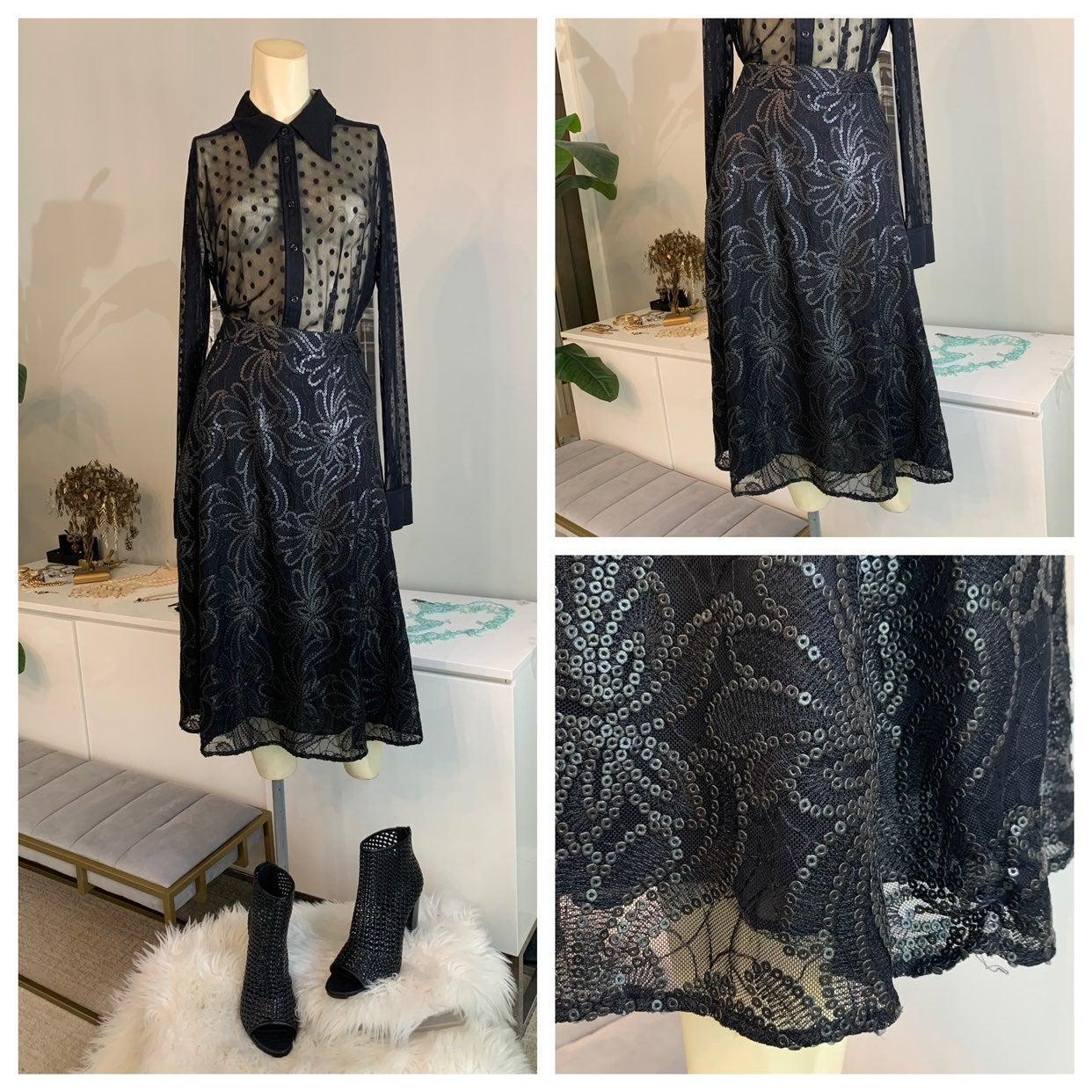 CCH sequin midi skirt black 8 medium