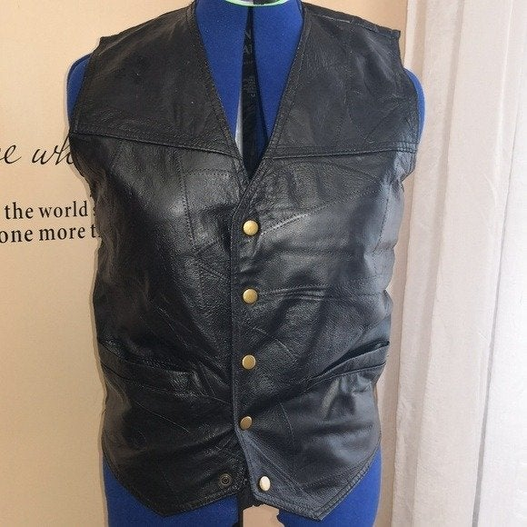 Navarre Mens Black Leather Vest Jacket
