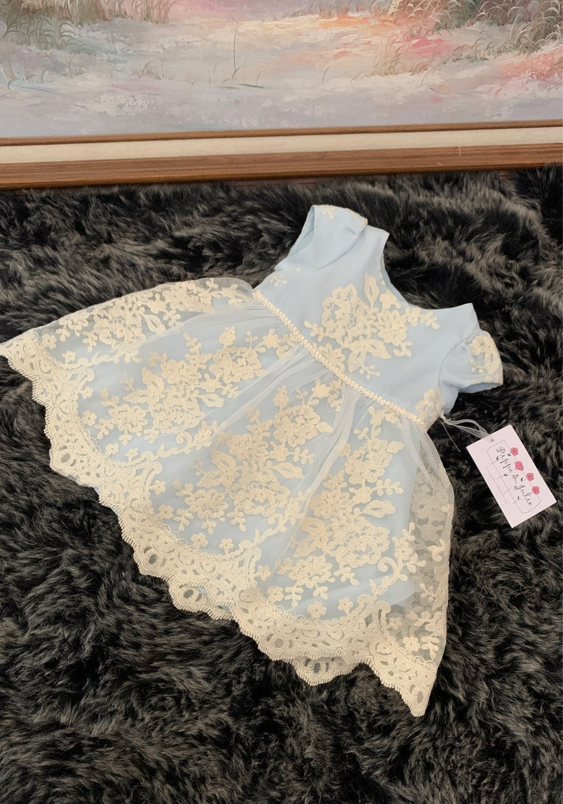 Pippa and Julie blue lace easter dresss