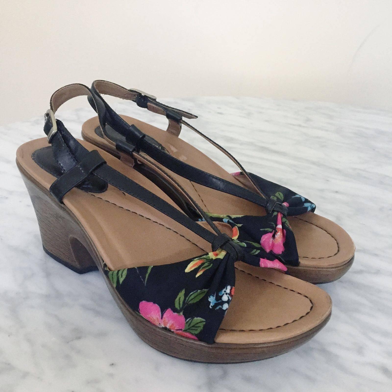 Dansko Black Floral Naomi Wedges Sandal