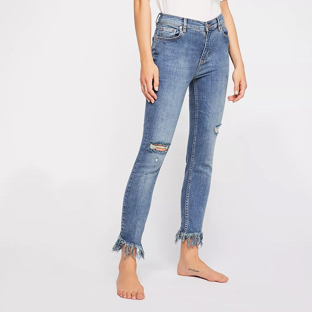 Free people Distress Frayed Skinny Jeans