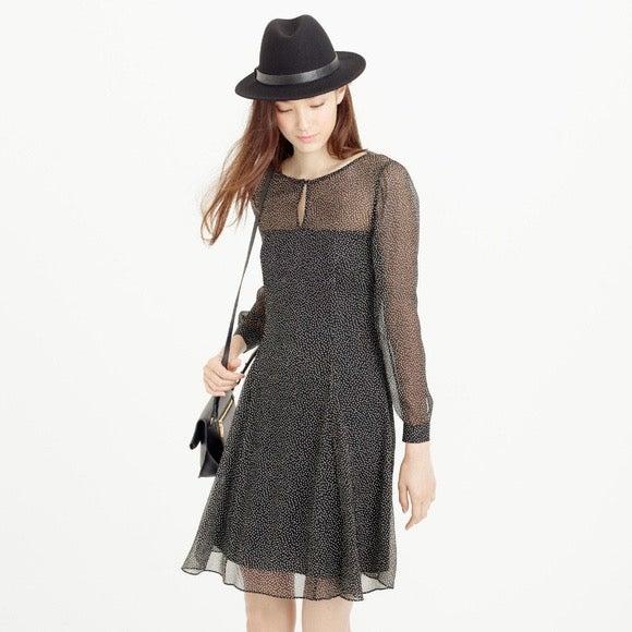 J CREW NWT Speckled SilkChiffon Dress 6P