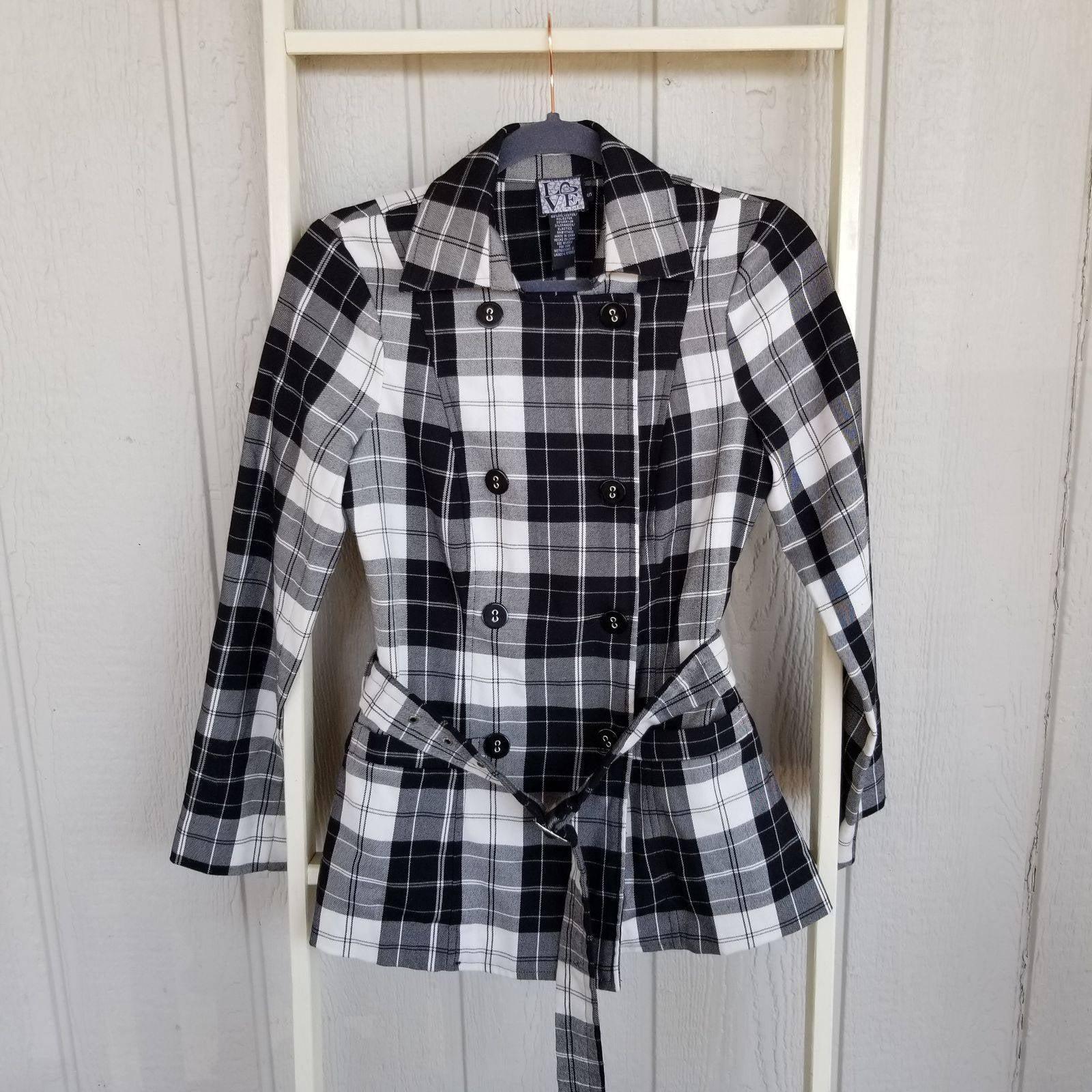 Love Tease Junior's Small Plaid Jacket