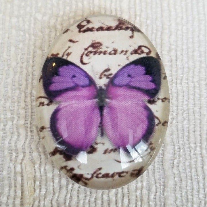 XL Butterfly Script Glass Cabochon 6016