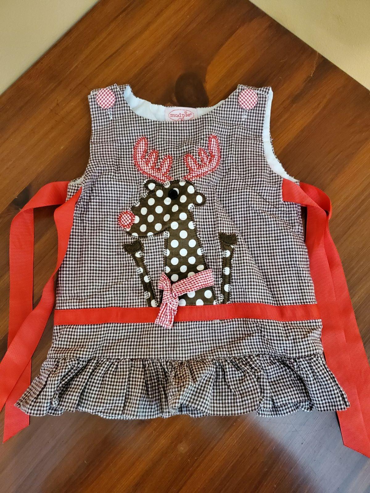 MudPie Baby Reindeer Dress - 0-6m