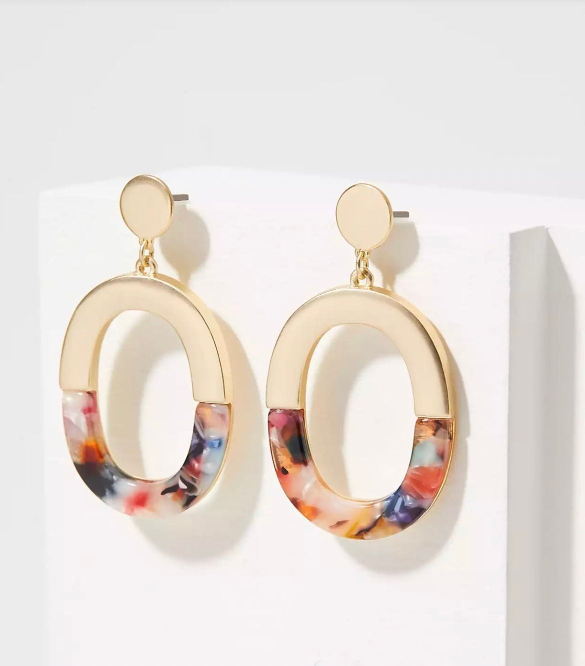 NWT LOFT Half Resin Drop Earrings