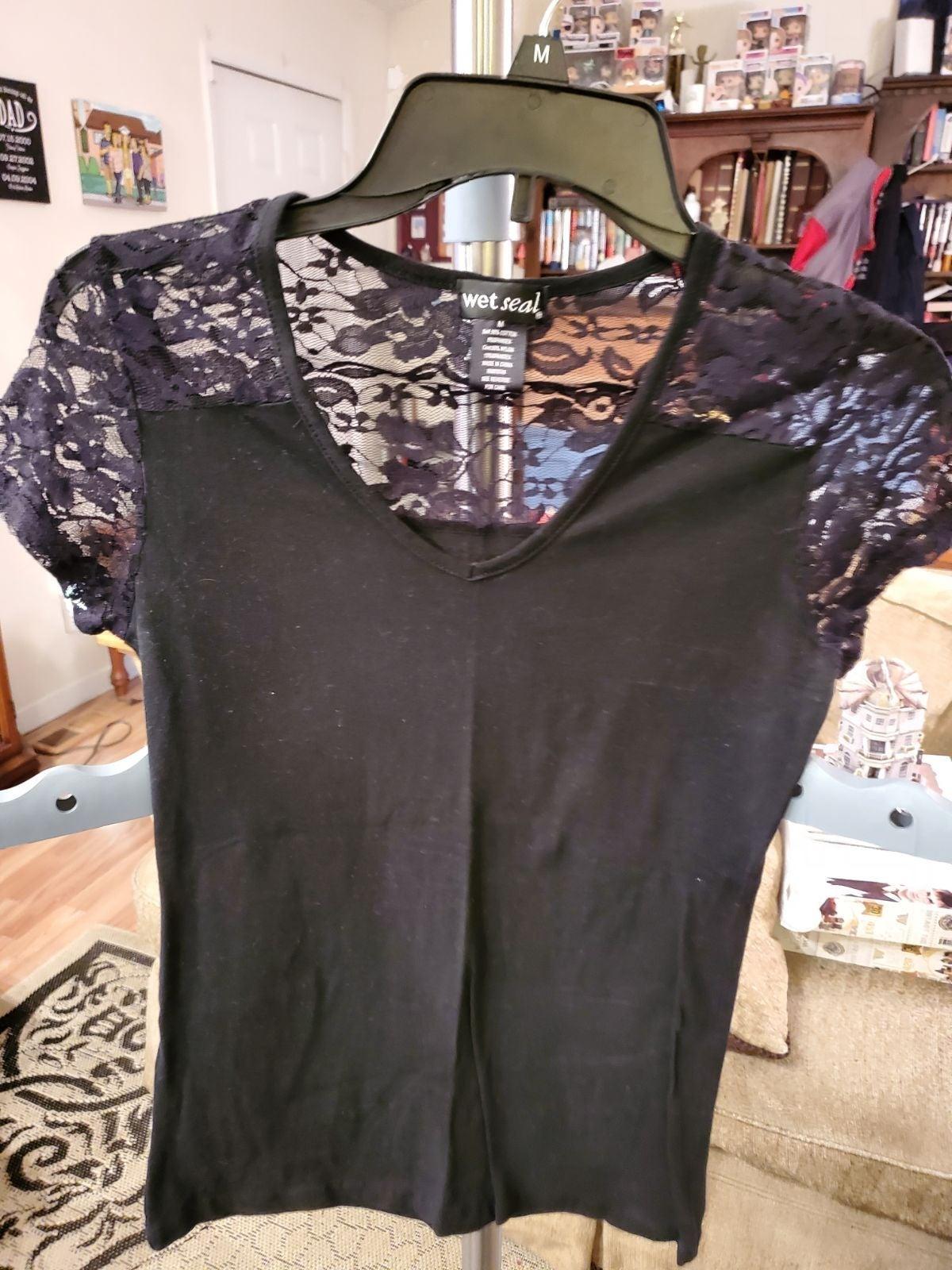Wet Seal Black Lace Shirt