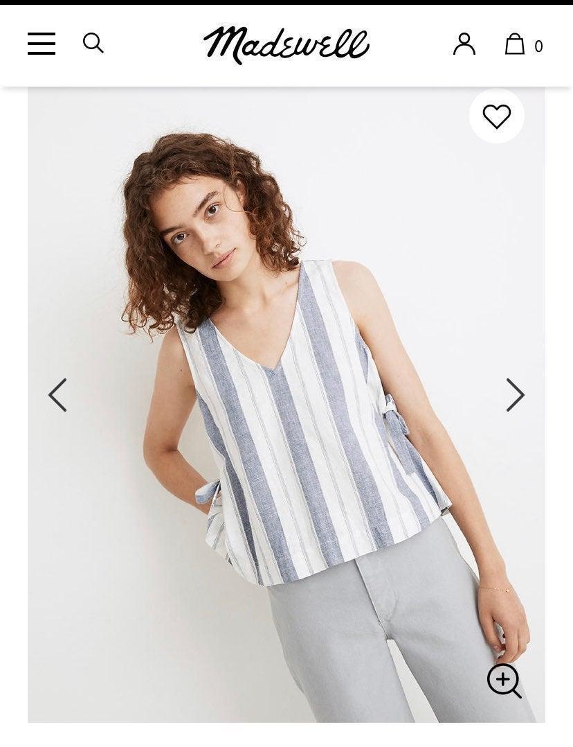 madewell Linen Side-Tie stripe Tank Top