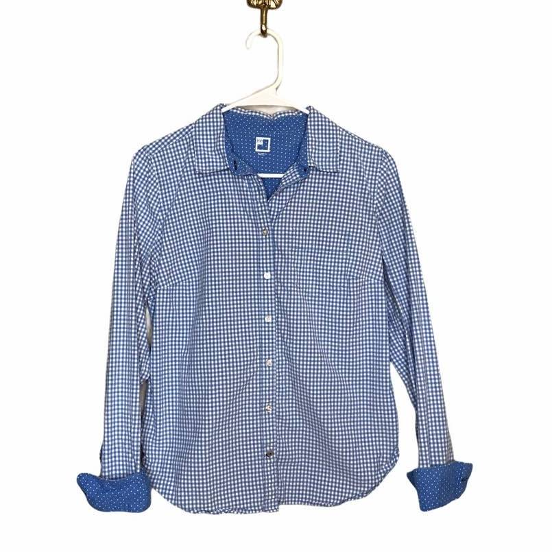 Blue White Gingham Button Down Top Med