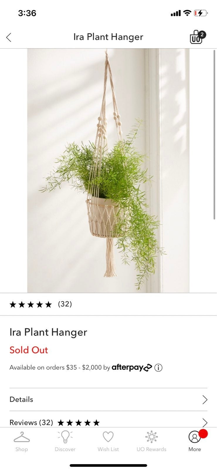 Urban outfitters plant hanger