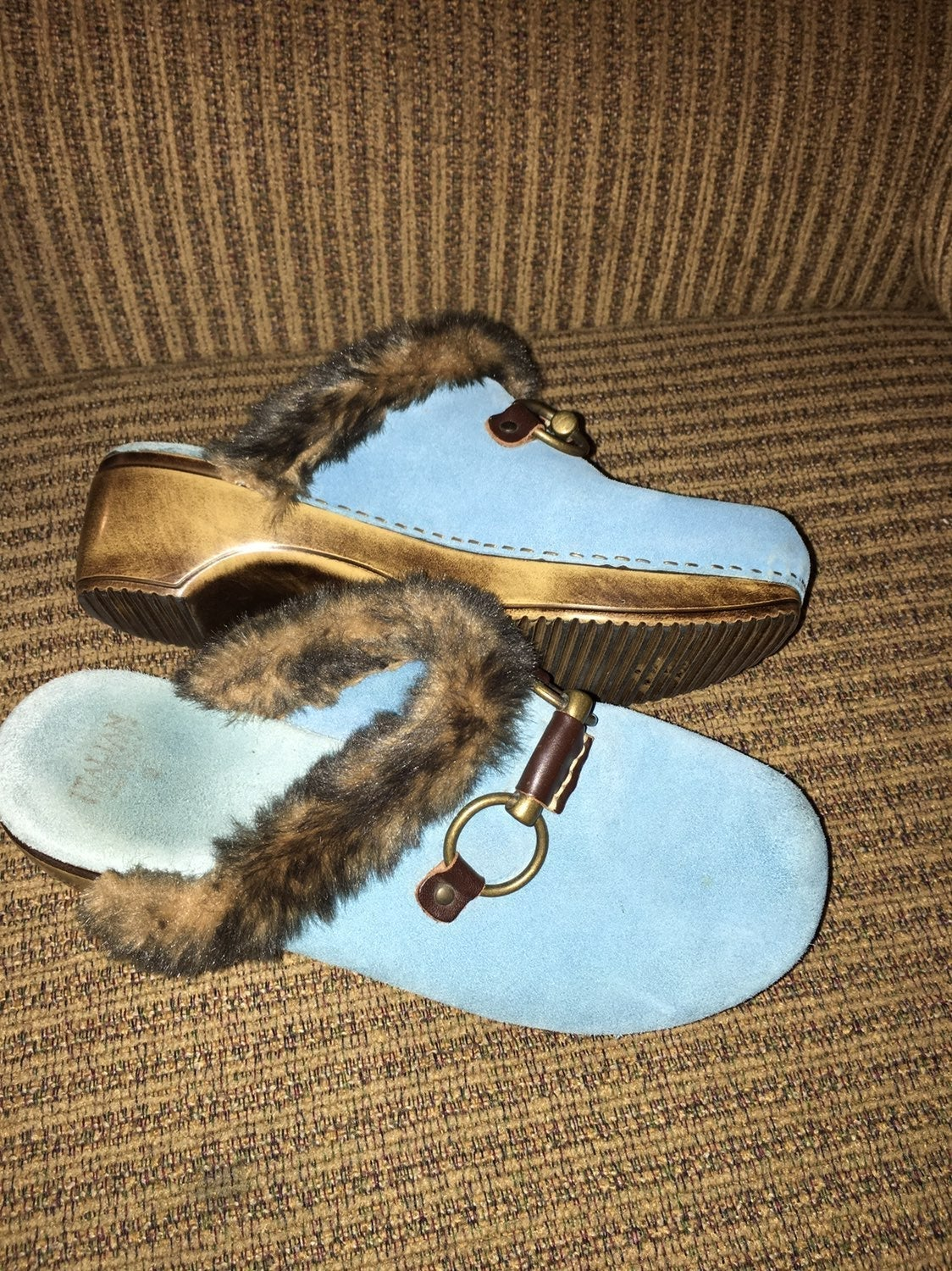 Italian Shoemakers Blue Suede Clogs