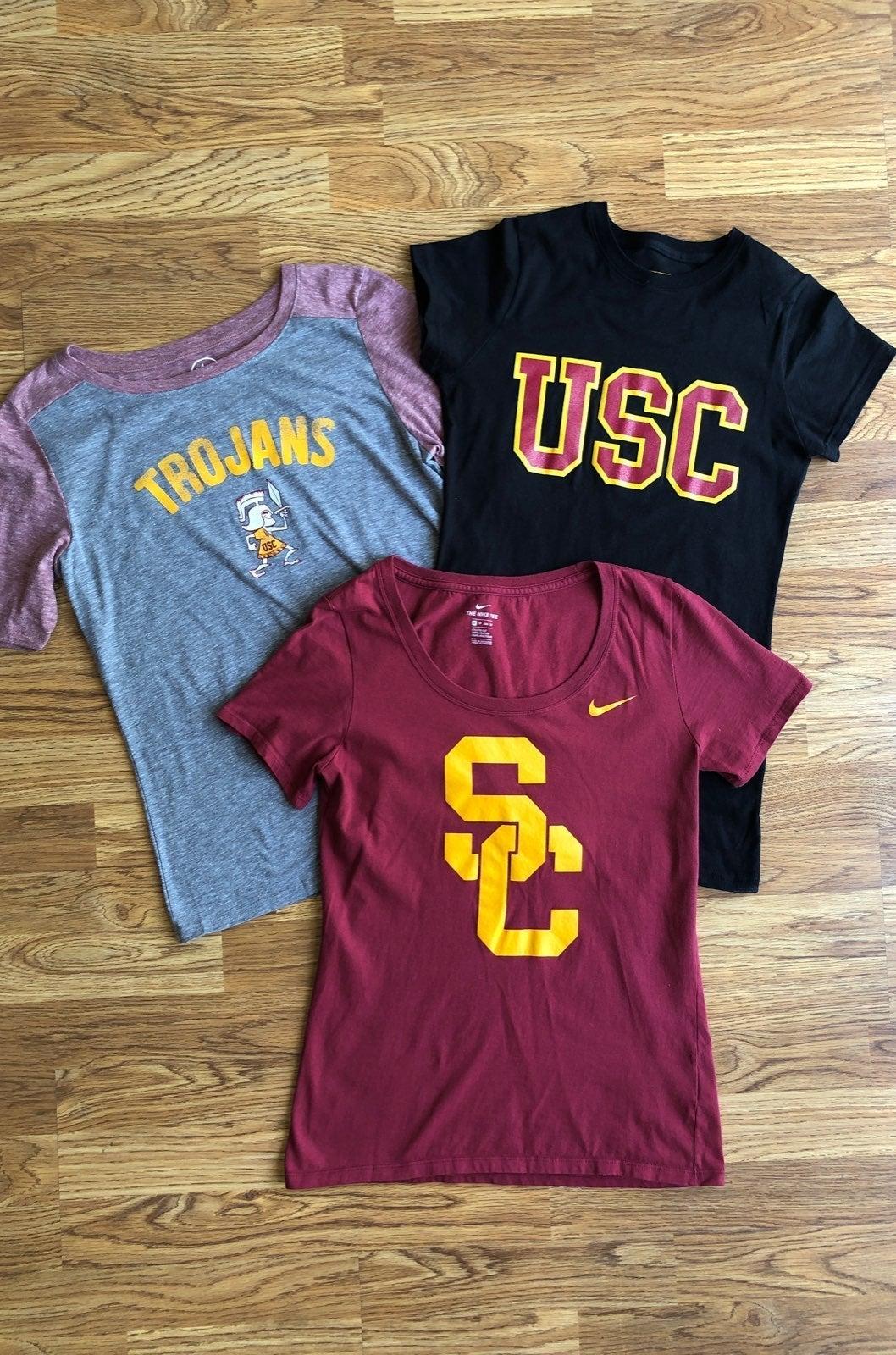 3 NEW USC Trojan Shirts XS/S Bundle