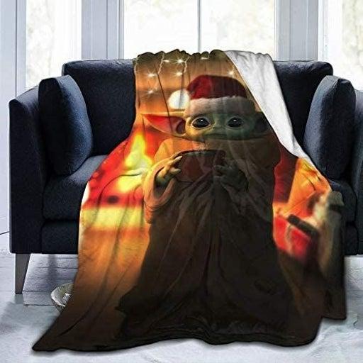 Christmas Baby Yoda Microfleece Blanket