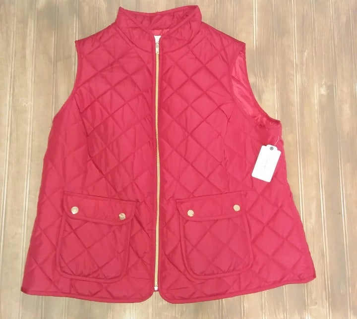 ST. JOHN'S BAY QUILTED PUFFER VEST NEW