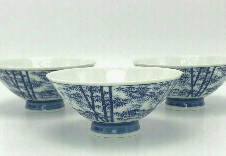 3x Vintage Asian Blue & White Bowls