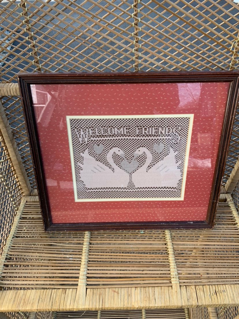 Vintage Lace art handmade welcome frame