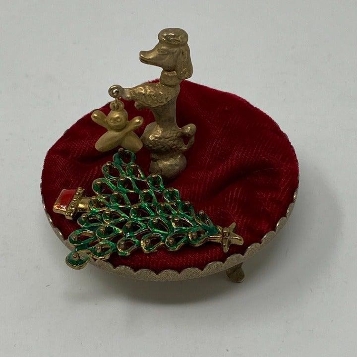 Vintage Brass & Red Velvet  Pin Cushion