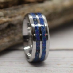 Stainless Steel And Van Gogh Blue Opal Inlay, Size 8, Ready To Ship