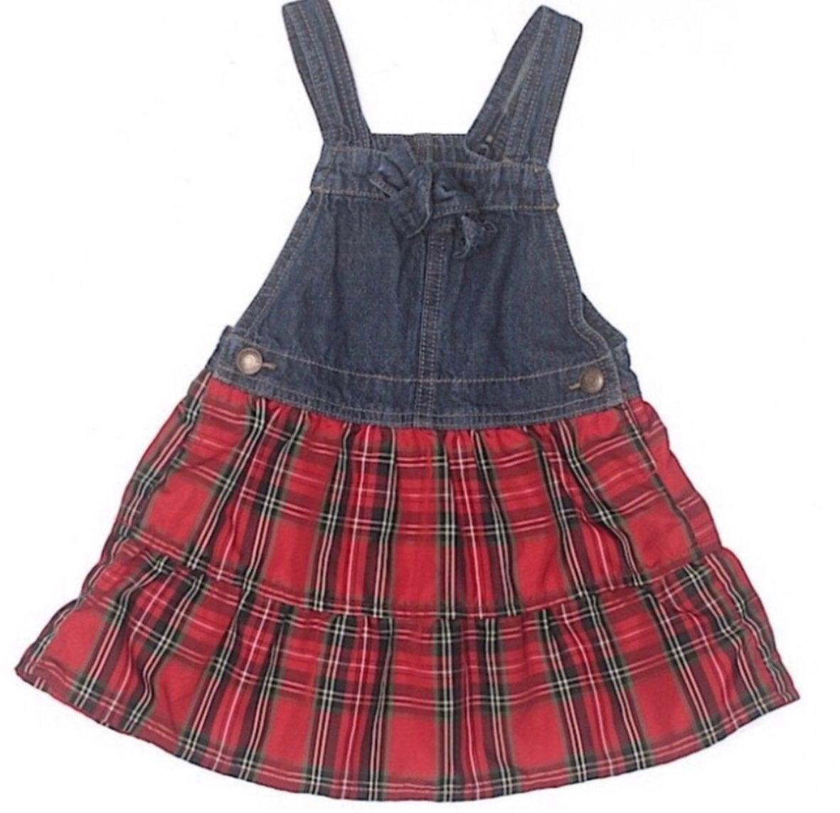Oshkosh B'Gosh Overall Denim Plaid Dress