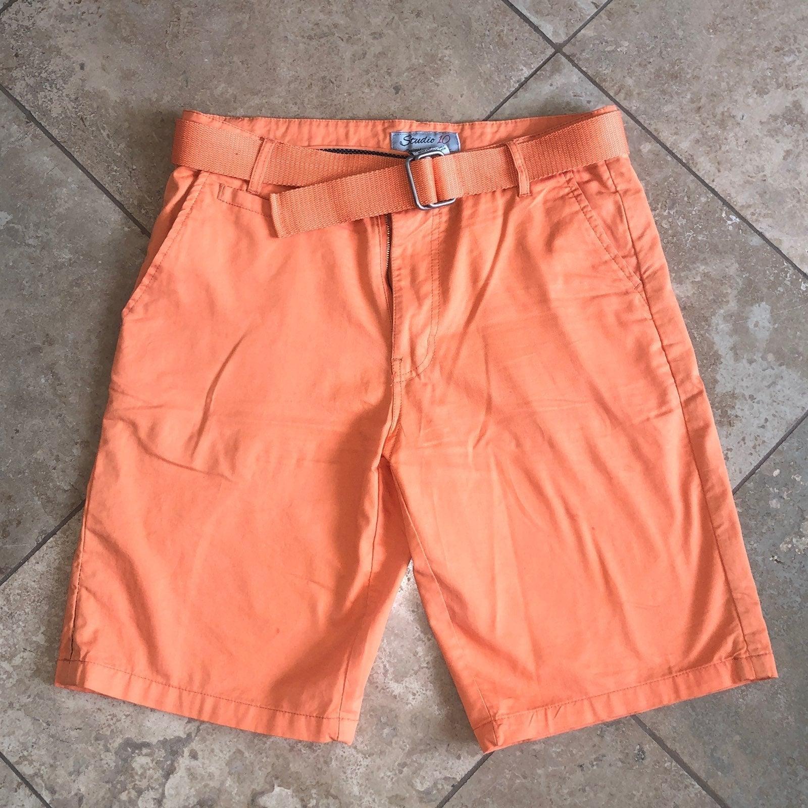 Mens Orange Chino Shorts