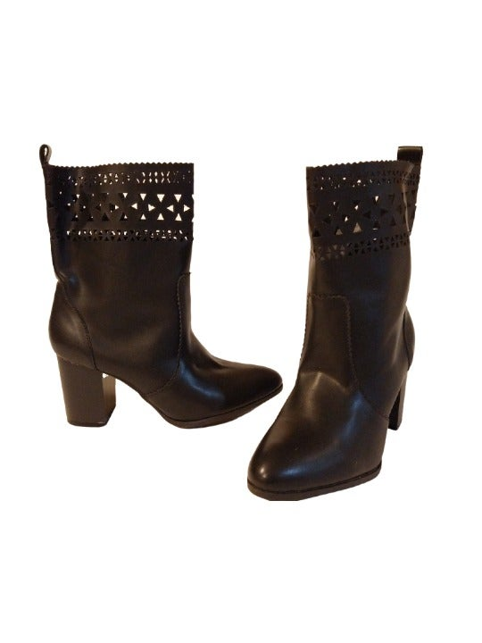 Women's Nomad Boots Faux Leather Heels 8