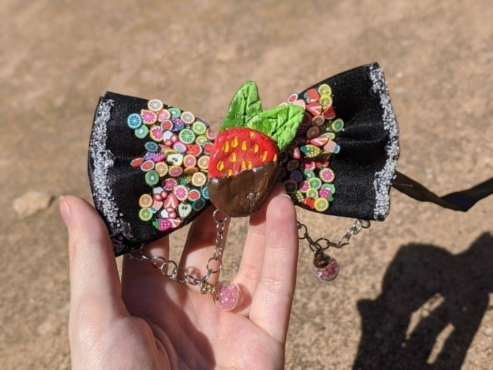 Adjustable Pink Strawberry Bowtie