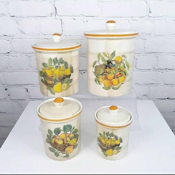 VTG Italian Fruit Ceramic Cannisters 4