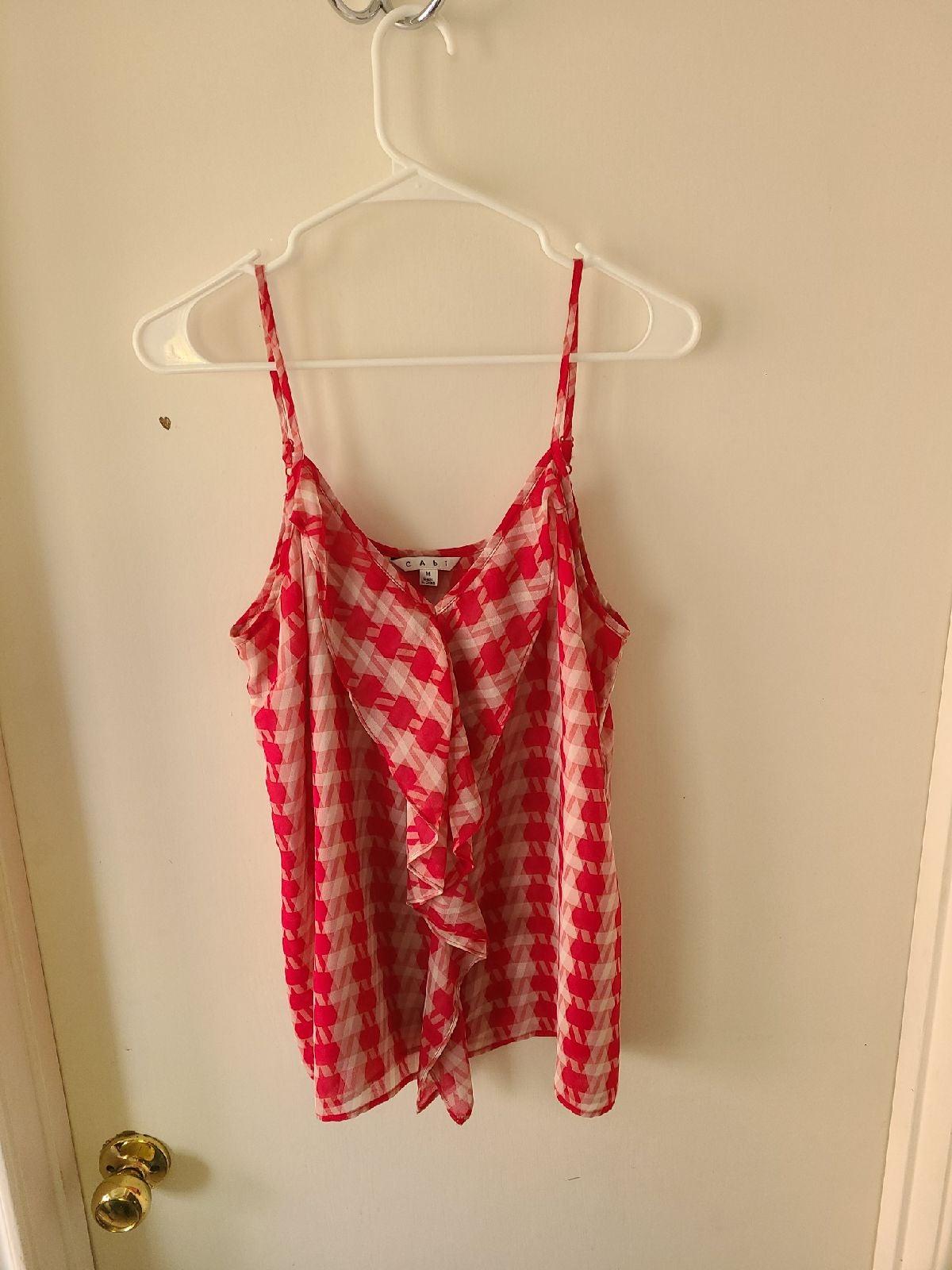 Cabi Red and white spaghetti strap tank