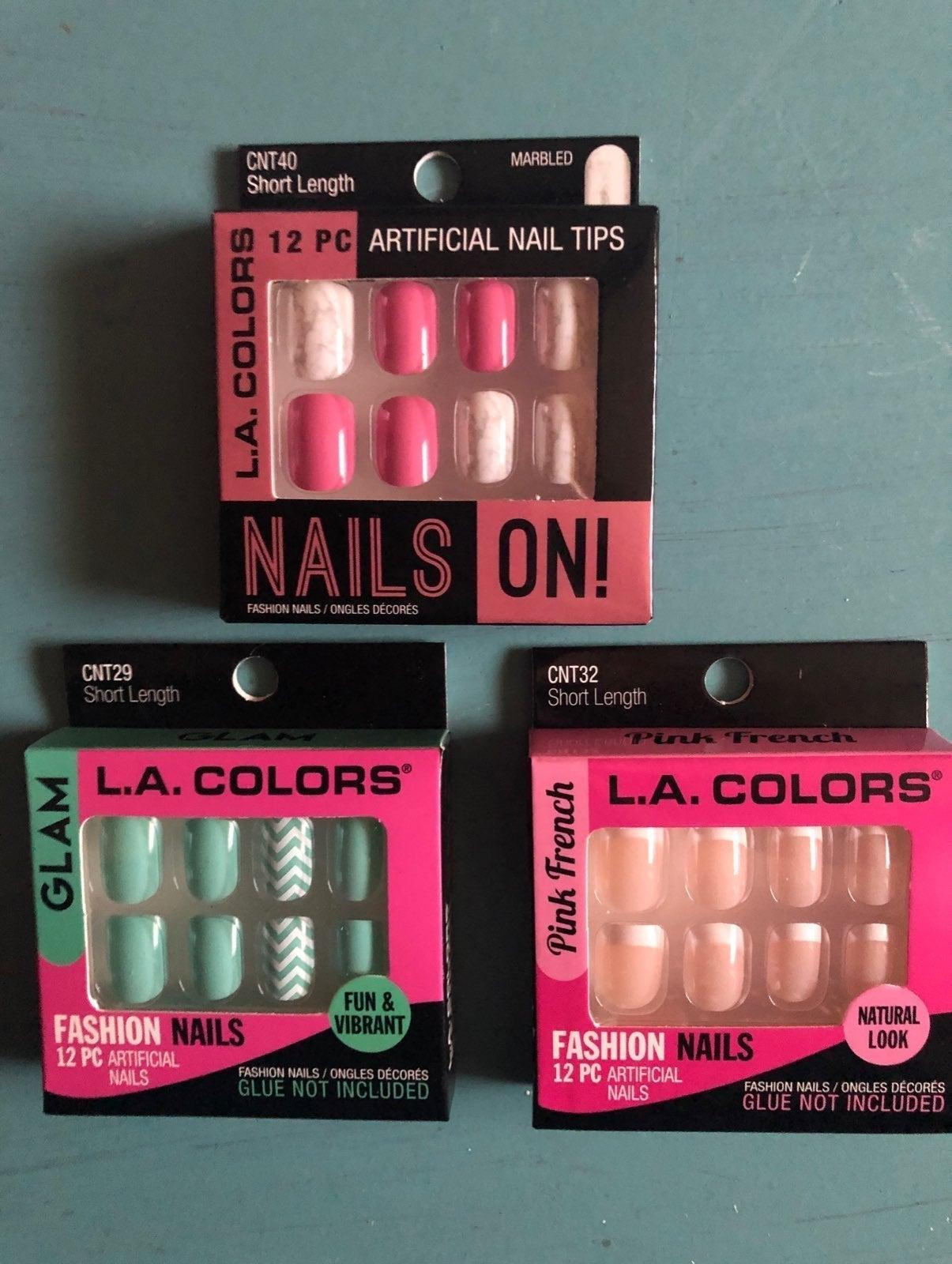 LA Colors Fake Nails- Lot of 3