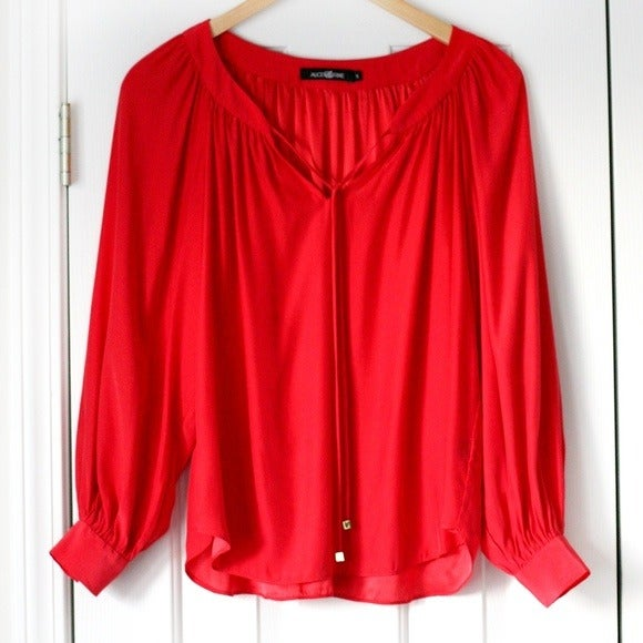 Alice & Trixie red silk long sleeve top
