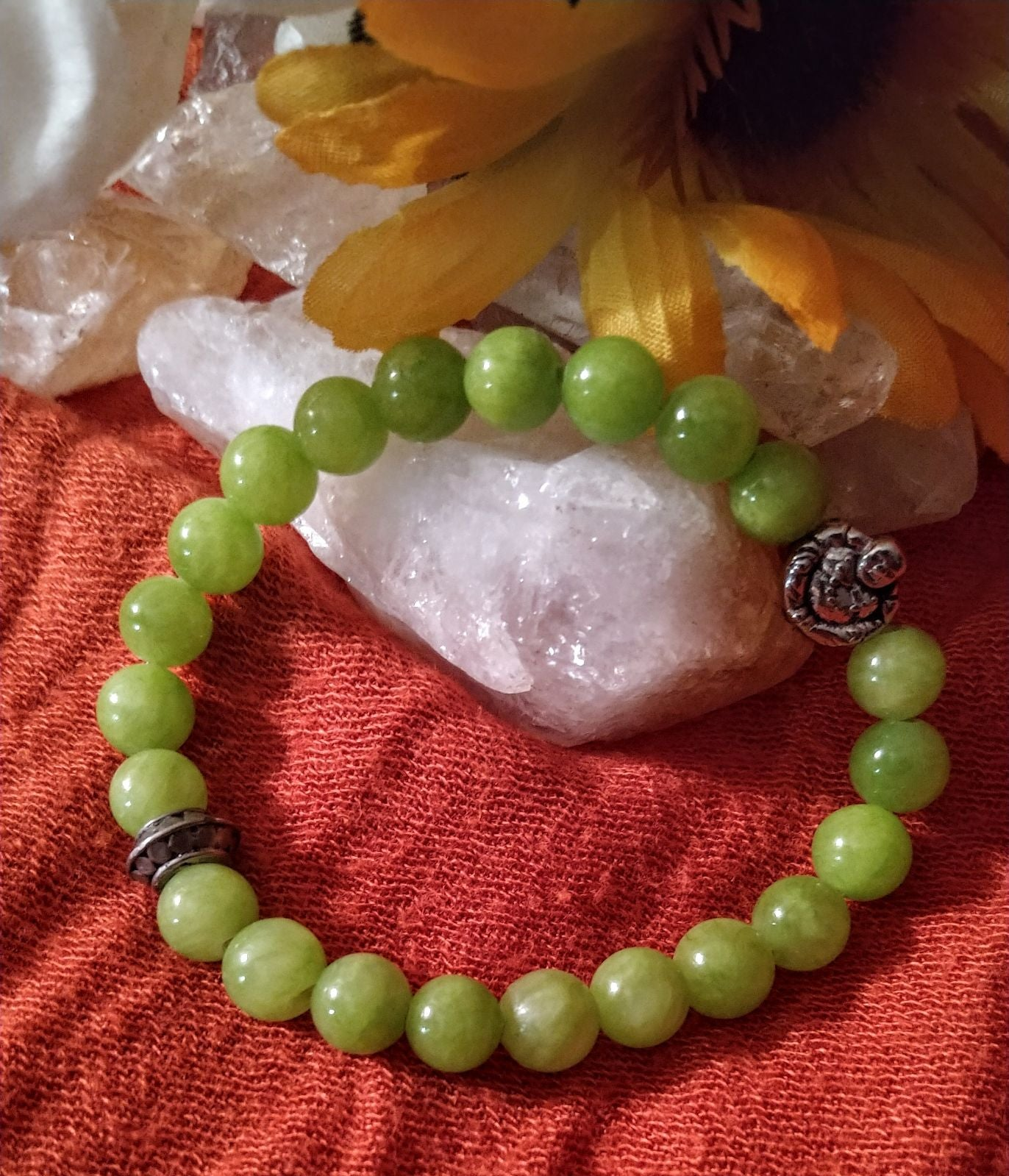Jade and budda stretch bracelet