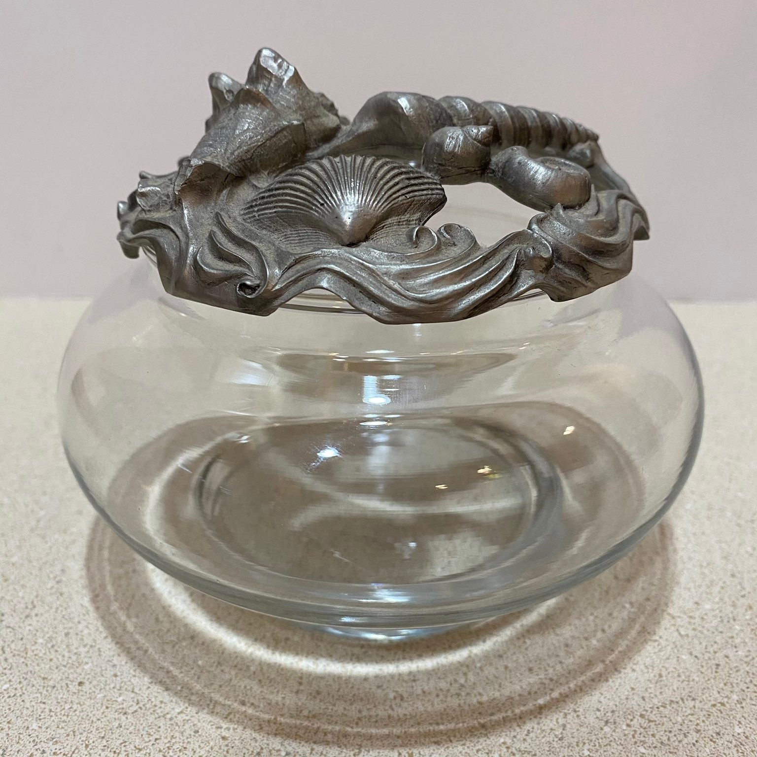 Pewter and Glass Display Dish