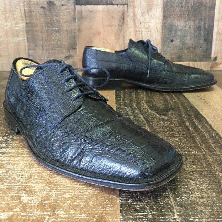 DAVID EDEN OSTRICH DRESS LOAFER SHOE FANGIO BLACK SIZE 11 RETAILS $395.00