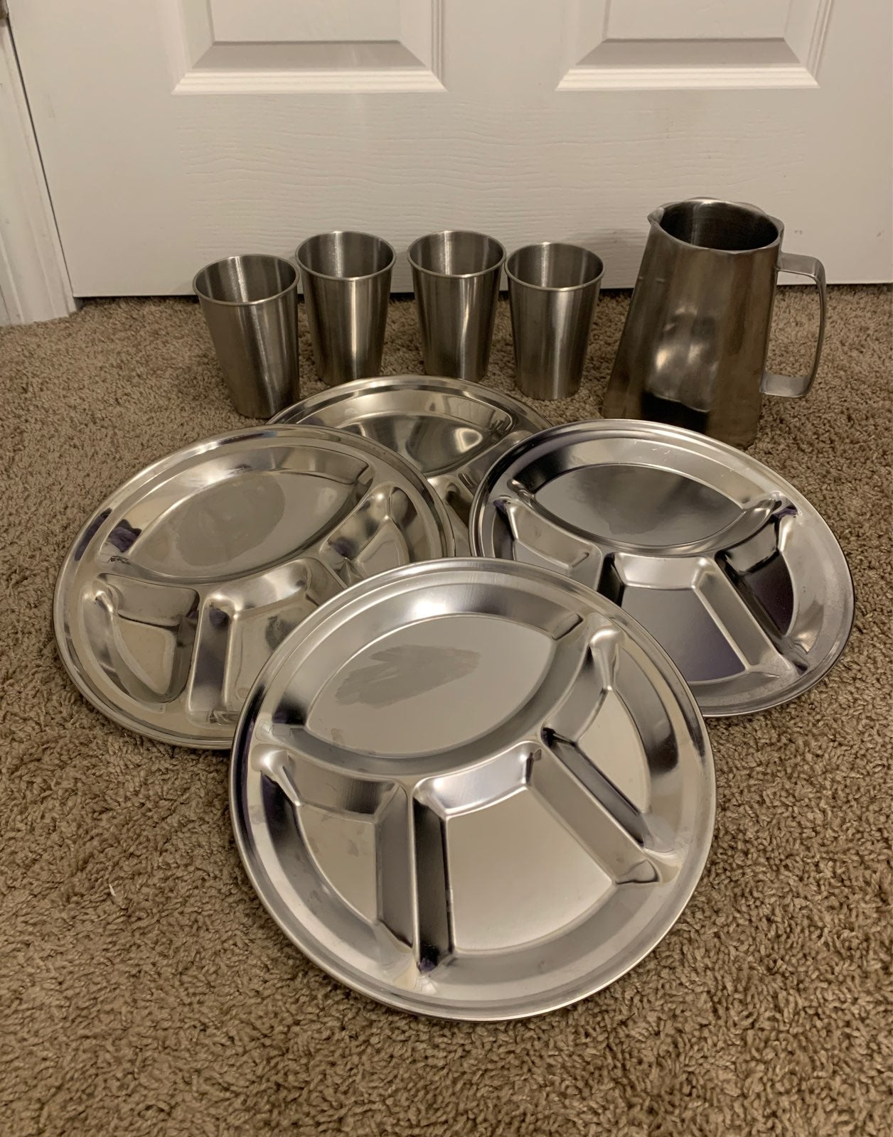 9pc Stainless Steel Plates and Cups