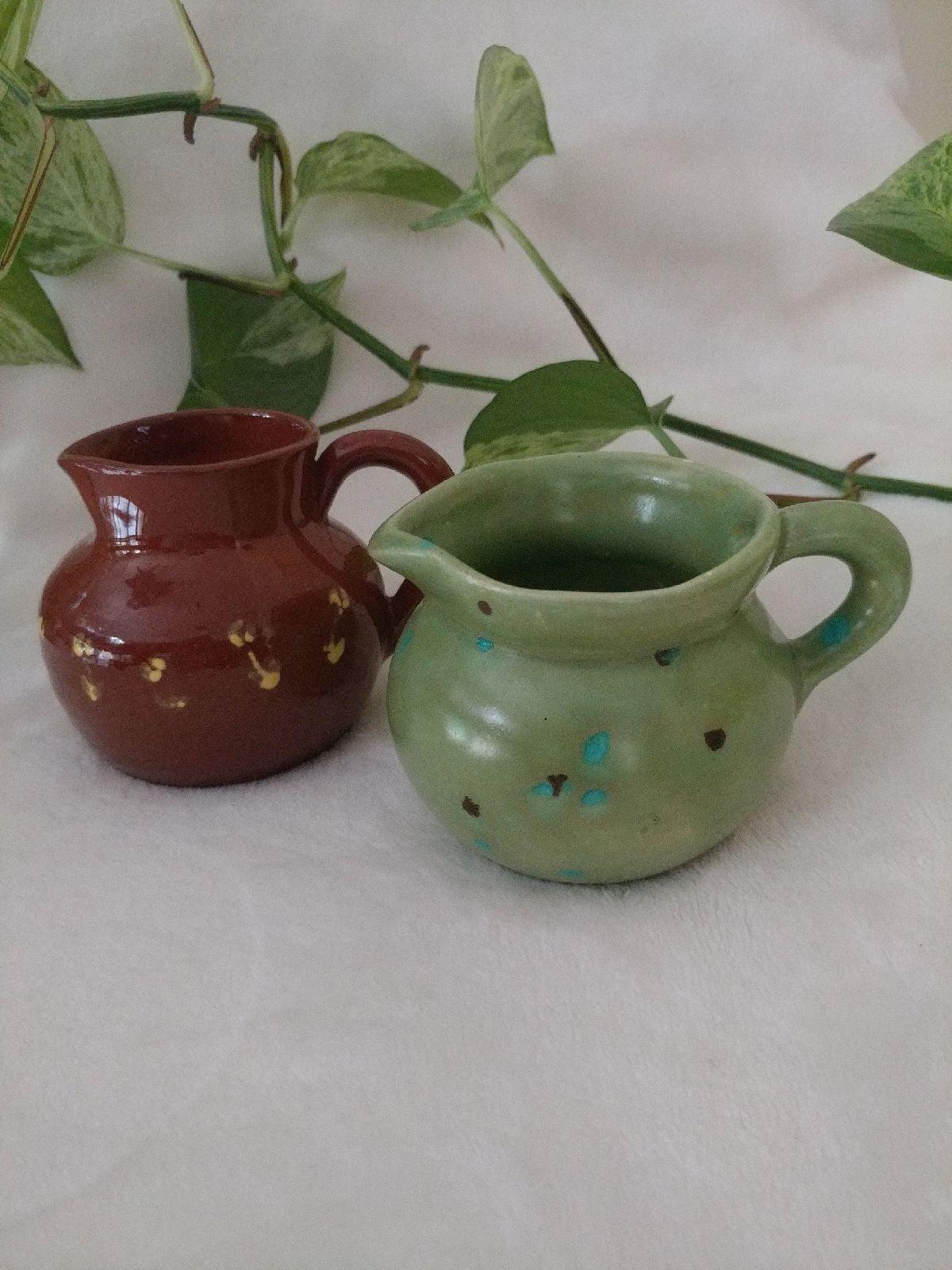 Handmade pottery set of 2 creamers