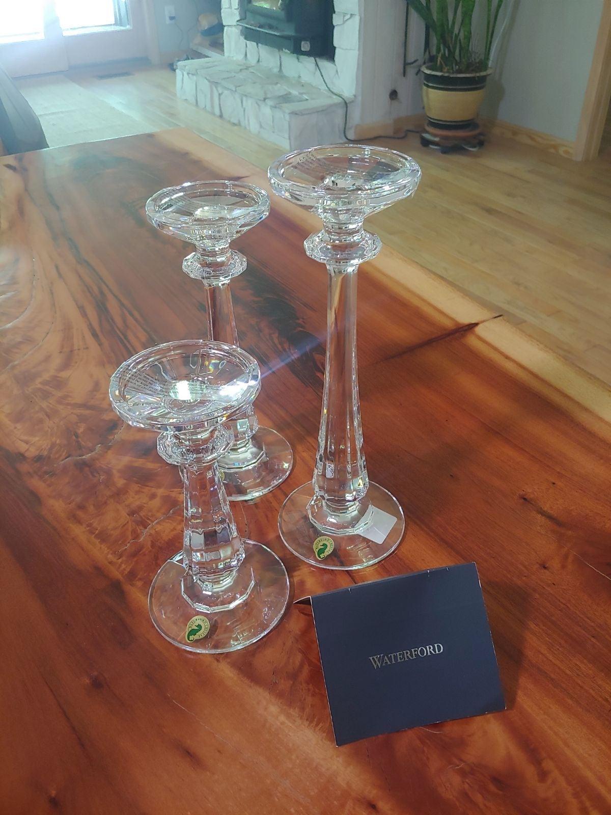 Waterford Crystal candle pillars (3) NIB