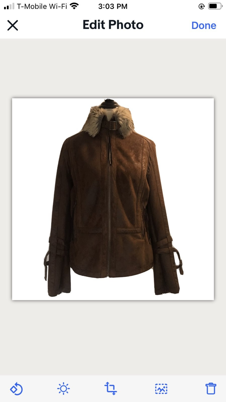 MONTANACO Brown Faux Leather Jacket L