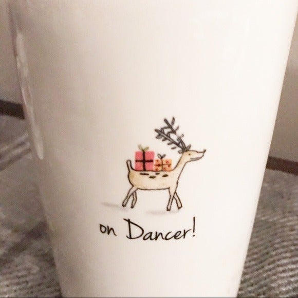 Rae Dunn on Dancer Reindeer Canister wit