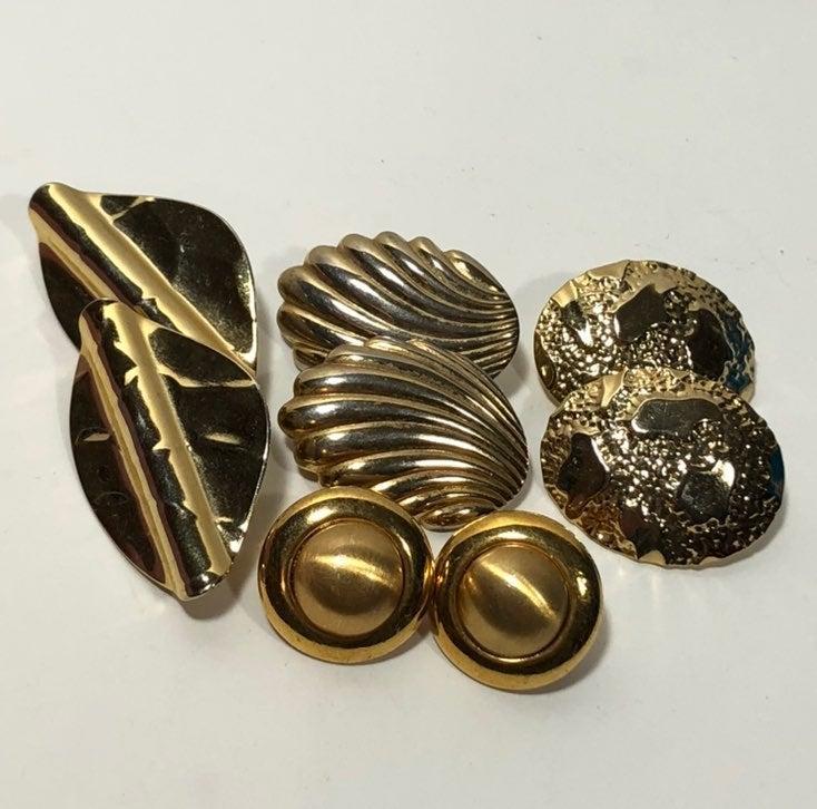Lot Vtg Gold Tone Earrings