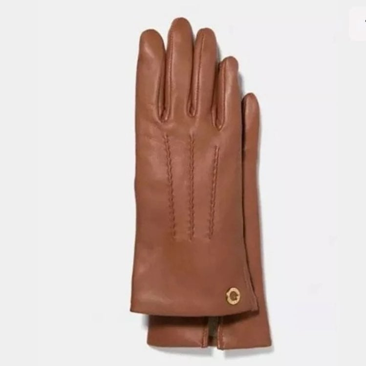 COACH Leather Gloves Camel Beige 7 NWT