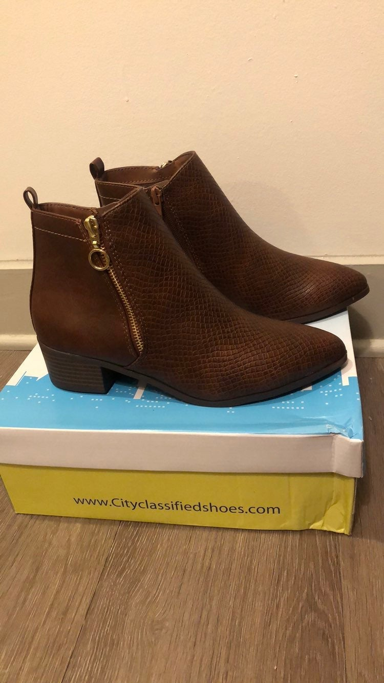Brown snakeskin ankle booties 7. New In