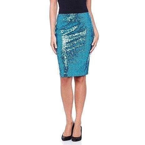 Naeem Khan Turquoise Sequin Skirt