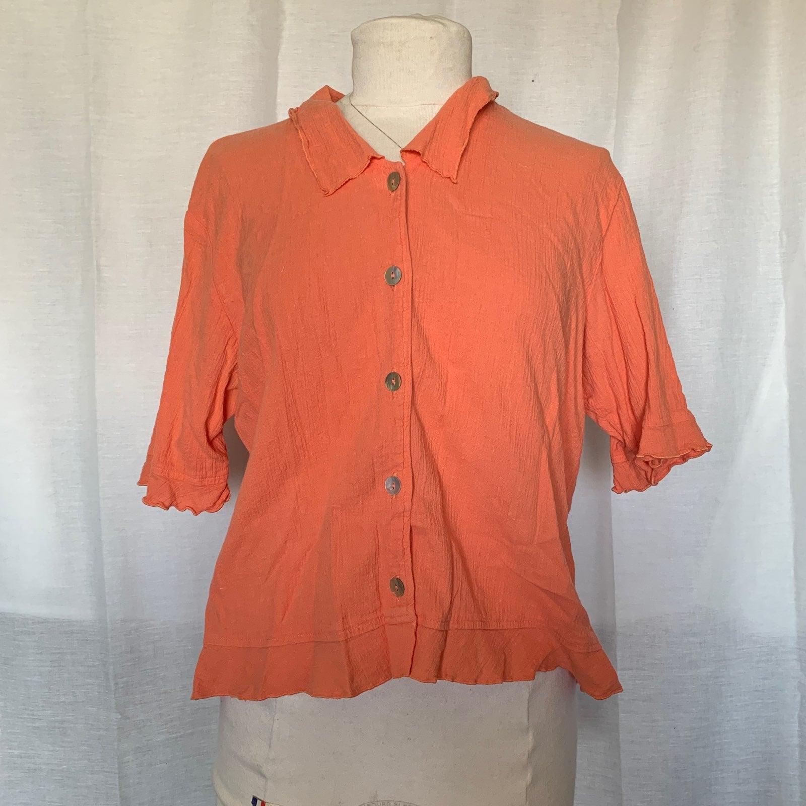 J. Jill Orange Button Up Blouse Shirt