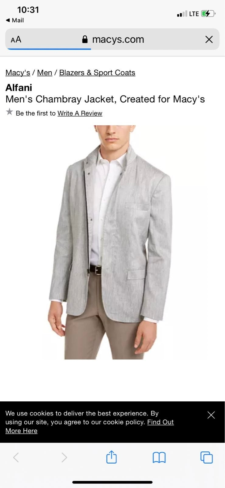 Alfani mens sport coat jacket zip up